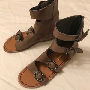Free people Greek style buckle sandals in Taupe